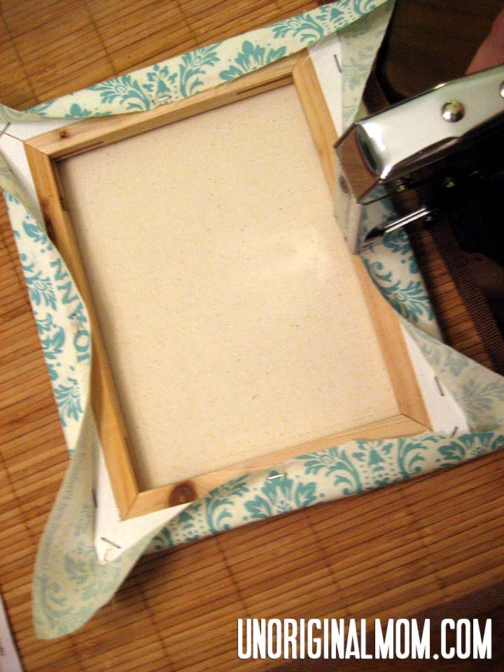 DIY Painted Fabric Canvas Step 1