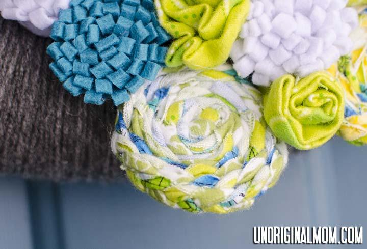 Flower from braided fabric scraps - so easy!   unOriginalMom.com