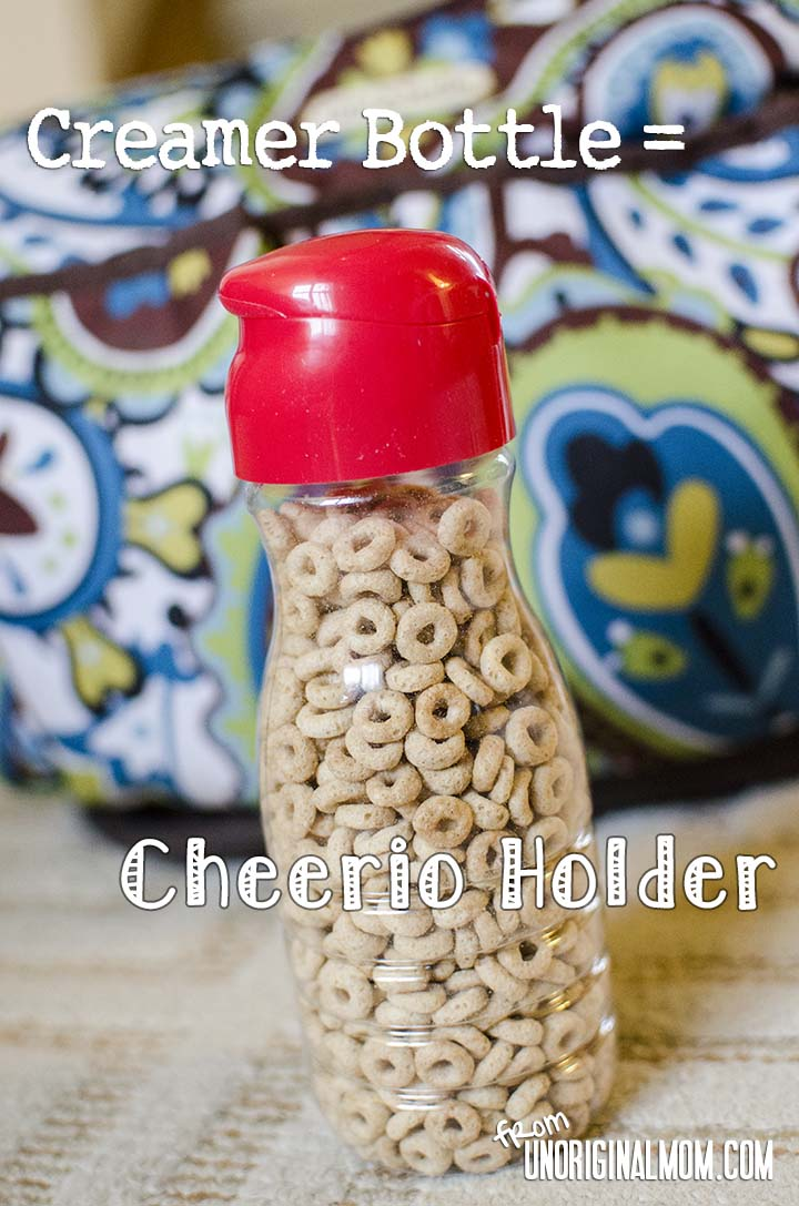 Upcycled creamer bottle = cheerio holder! | unOriginalMom.com