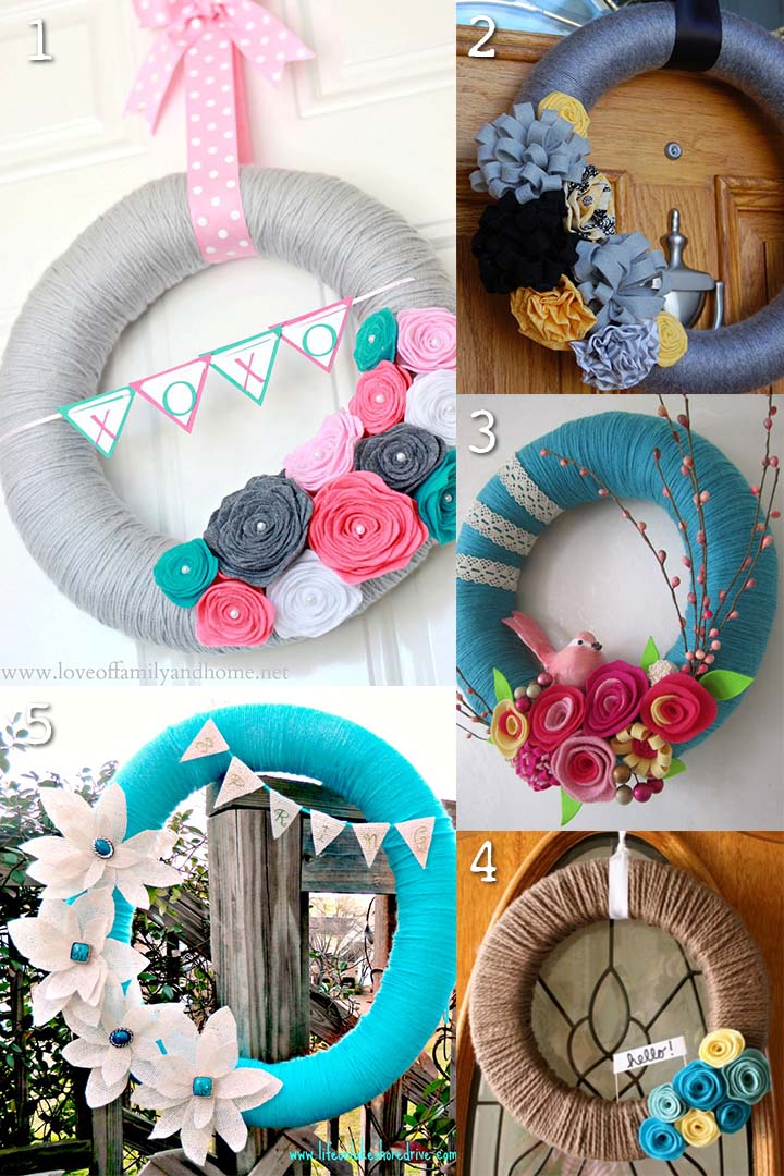 Beautiful Yarn Wreaths
