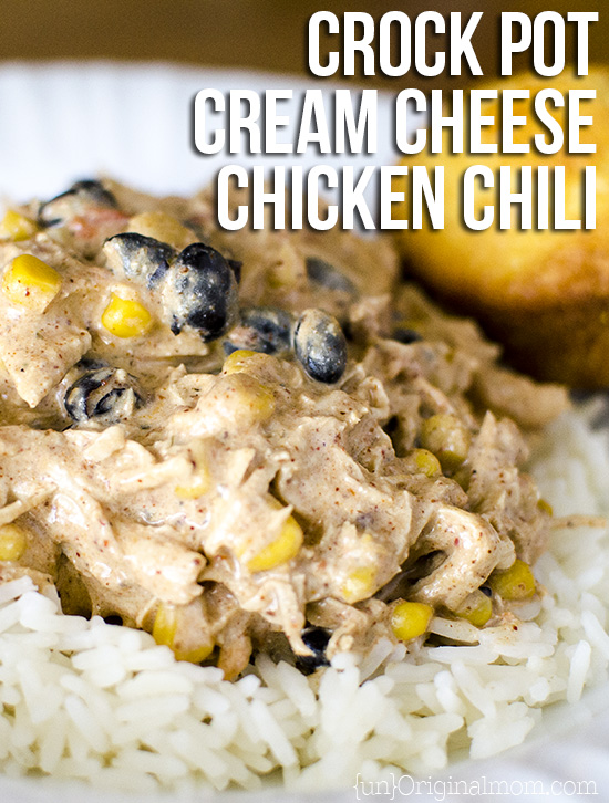Crock Pot Chicken Chili - Delicious, crowd pleasing, and oh-so-easy crock pot meal...you can use frozen chicken! Serve over rice for a complete meal.