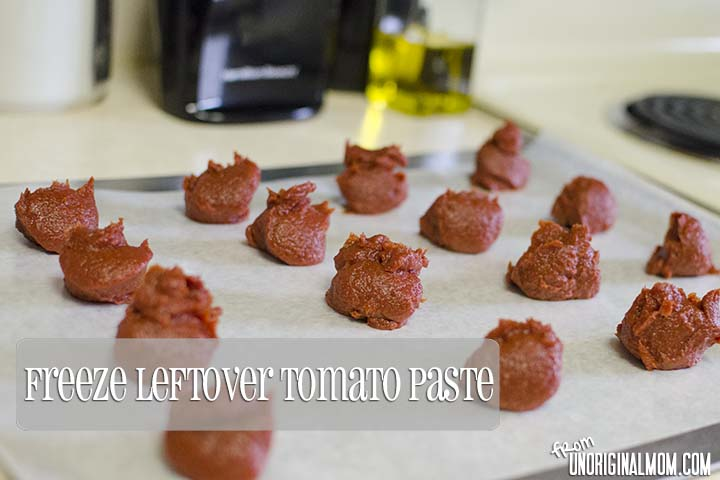 Store leftover tomato paste by freezing into tablespoon-size portions. | unOriginalMom.com