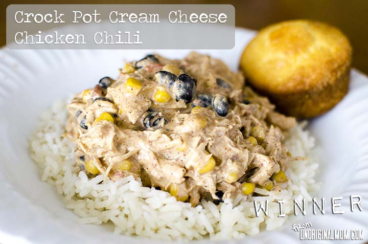 Crock Pot Cream Cheese Chicken Chili from unOriginalMom.com