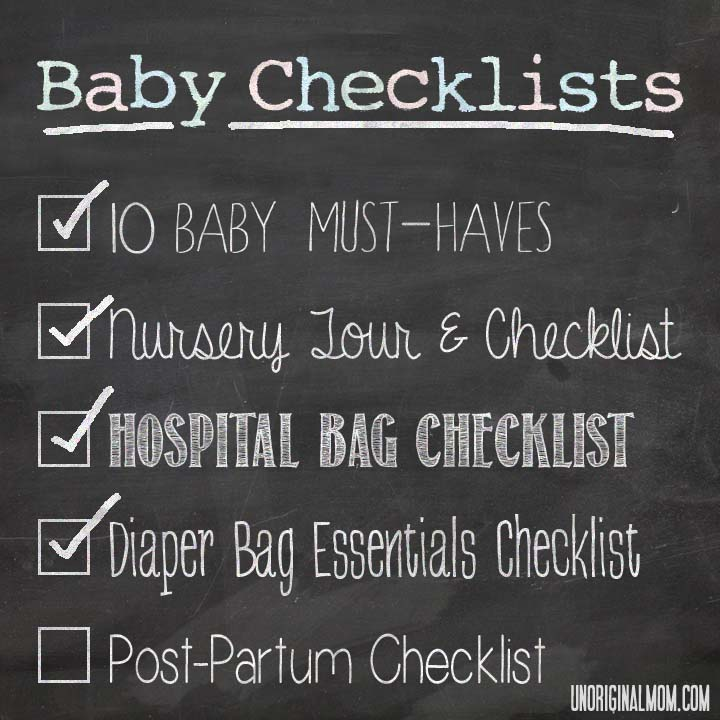 Diaper Bag Essentials Checklist | unOriginalMom.com #babychecklists #diaperbag