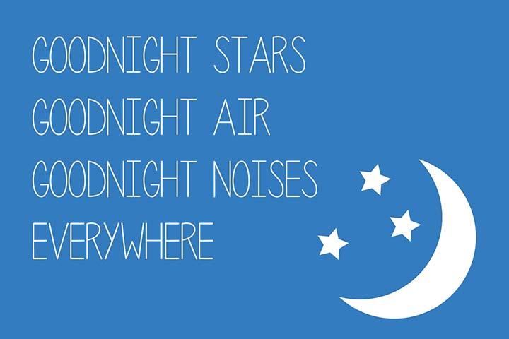 """Goodnight stars, goodnight air, goodnight noises everywhere."" --- Free printable children's book quotes from unOriginalMom.com"