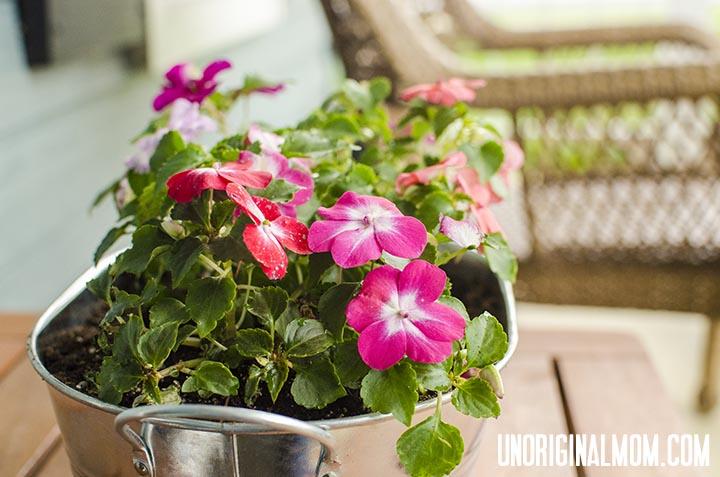 $3 bucket turned front porch planter!     unOriginalMom.com #impatiens #planter