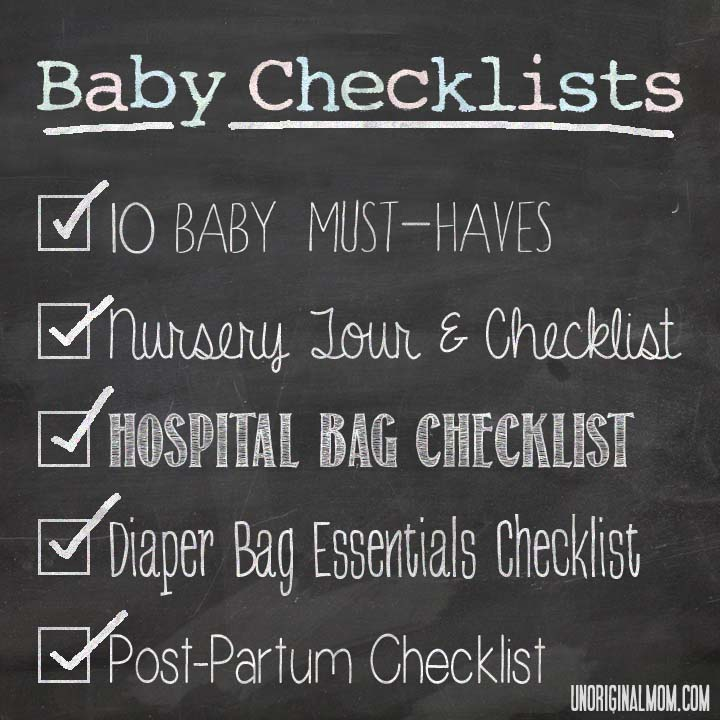 Postpartum Checklist - printable PDF checklist of essential items to have on hand after giving birth!