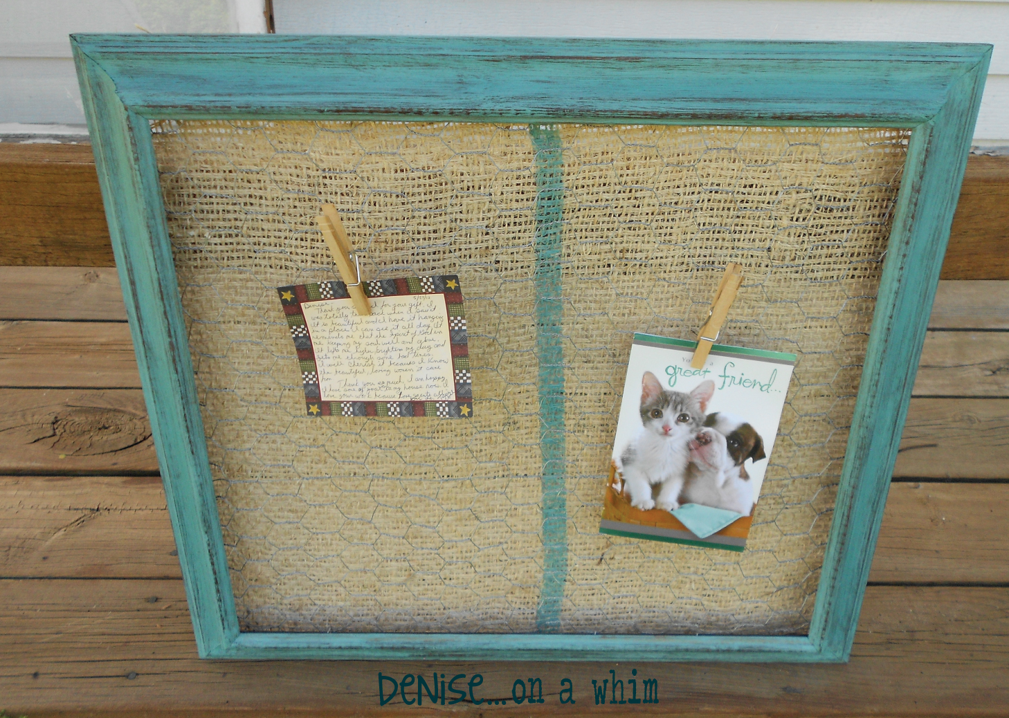 Original Friday Feature: Chicken Wire & Burlap Message Board by Denise on a Whim