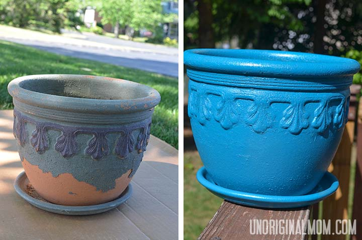 Spray paint a flower pot to give it new life! | unOriginalMom.com