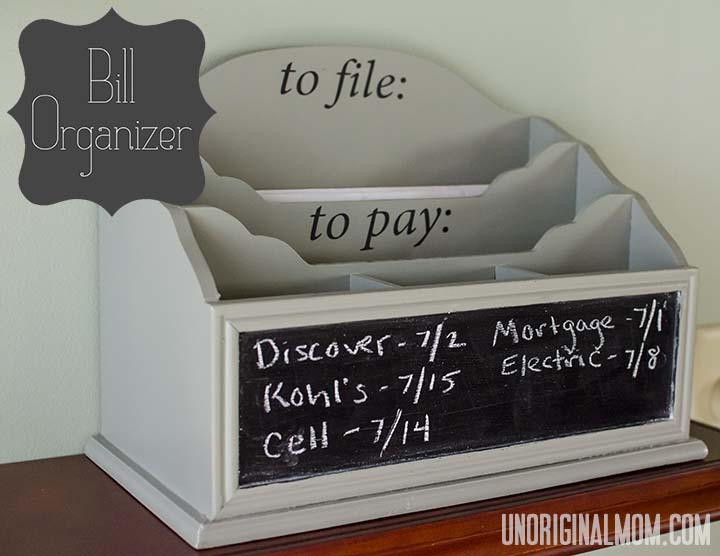 Bill organizer with a chalkboard | unOriginalmom.com