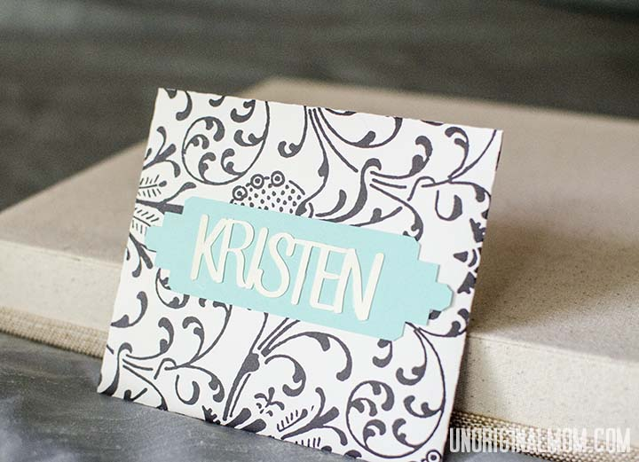 Easy envelope and name card made with my Silhouette | unOriginalMom.com