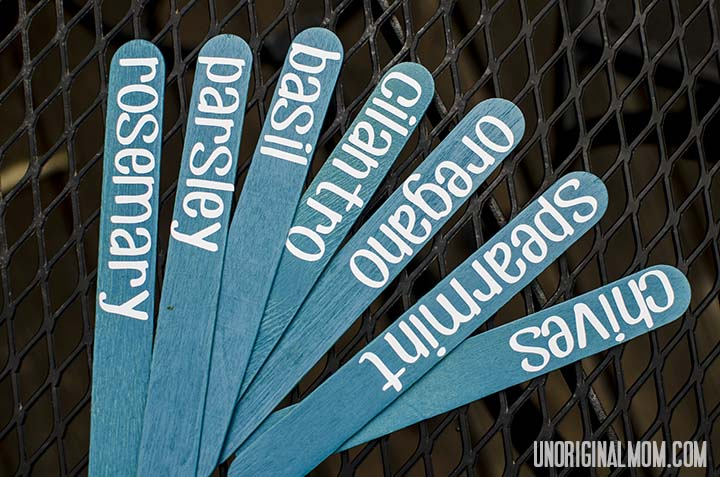 Popsicle sticks and vinyl lettering for herb markers | unOriginalMom.com