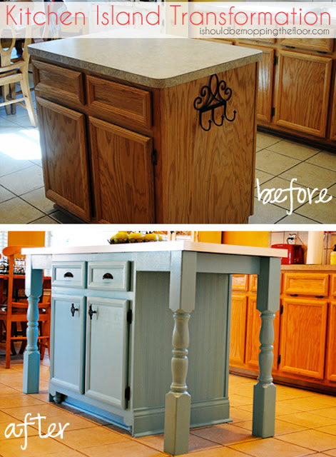 Original Friday Feature: Kitchen Island Transformation from i should be mopping the floor