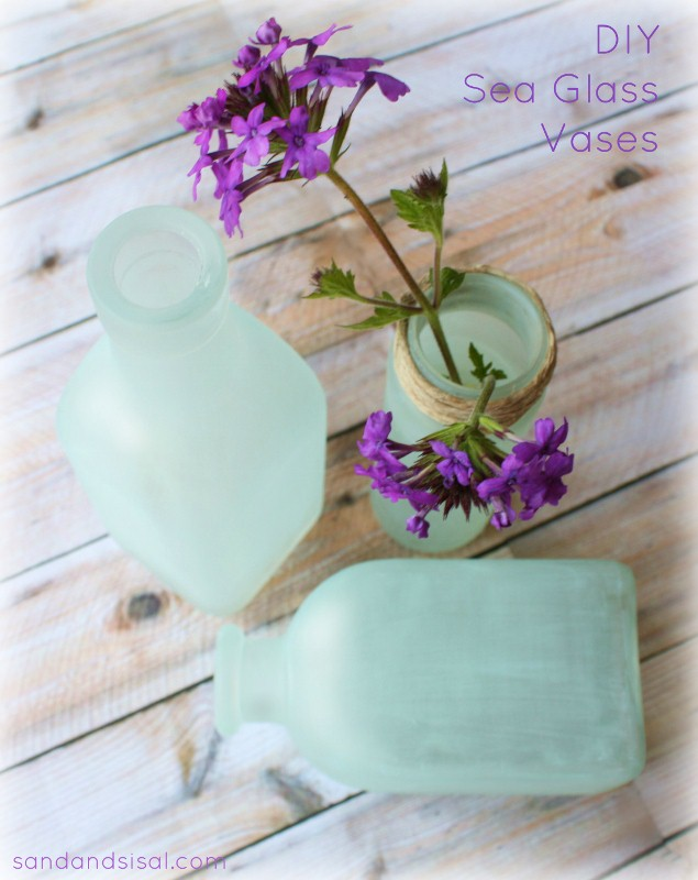 Original Friday Feature: DIY Sea Glass Vases from Sand & Sisal