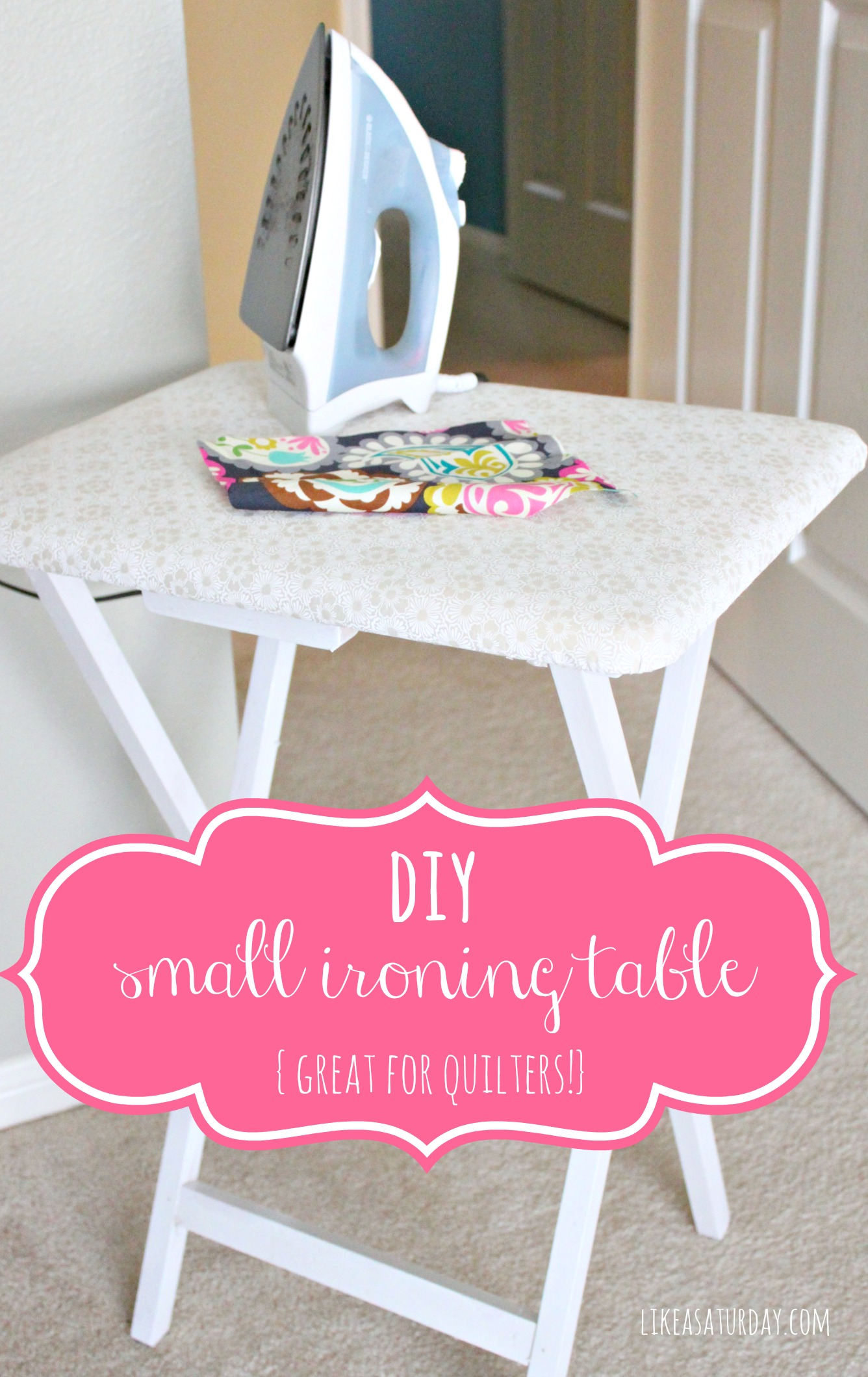 Original Friday Feature:  Small ironing table out of a TV tray from Like A Saturday