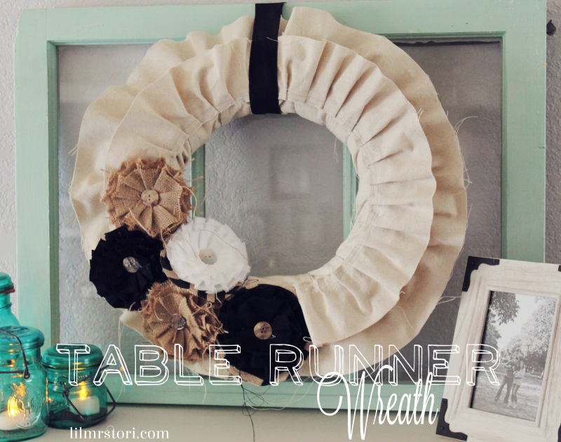Original Friday Feature:  Table Runner Fall Wreath from Lil Mrs. Tori