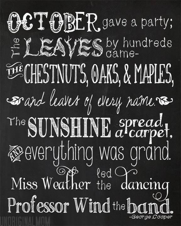 """October's Party"" Free Printable with wood or chalkboard background  