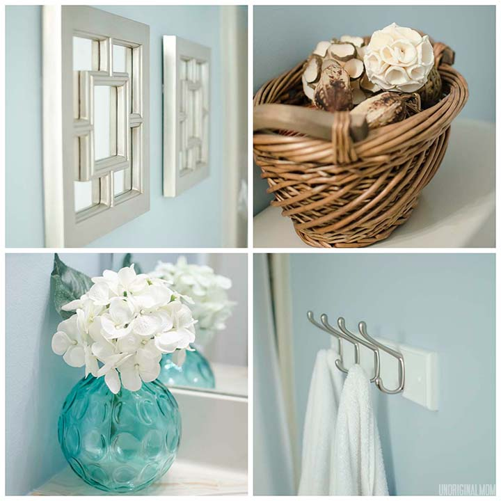 Master Bathroom Re-do - update your bathroom with accessories!  #bathroom #blue #accessories