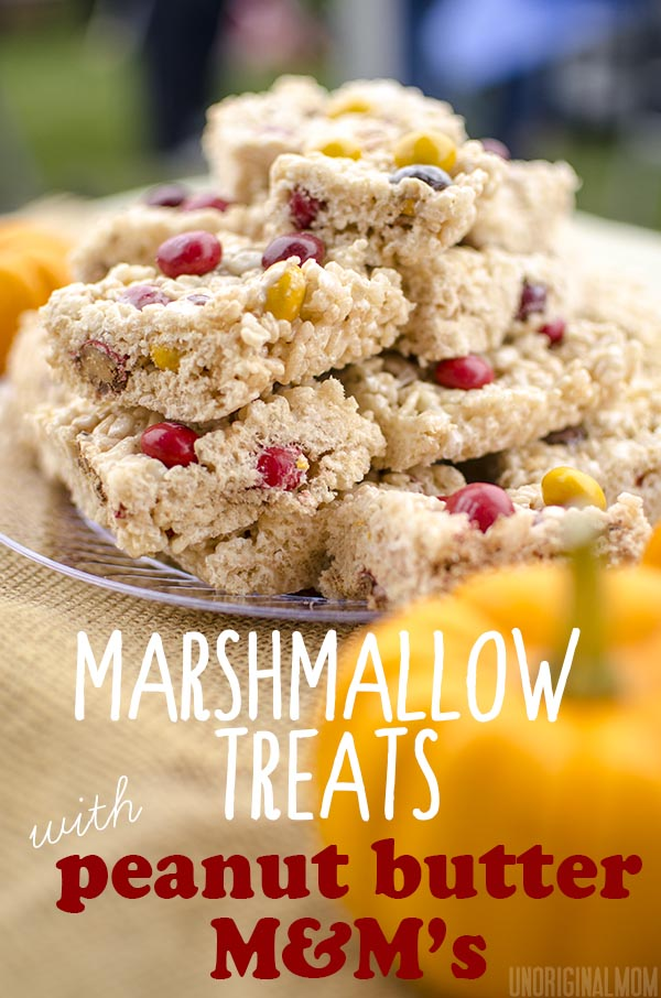 Marshmallow Treats with Peanut Butter M&Ms #HarvestFun #shop #cbias