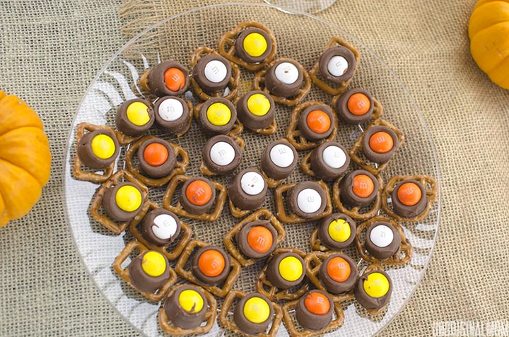 Pretzels, caramel-filled chocolate, and candy corn M&Ms make an easy recipe for fall entertaining! #FallHarvest #shop #cbias