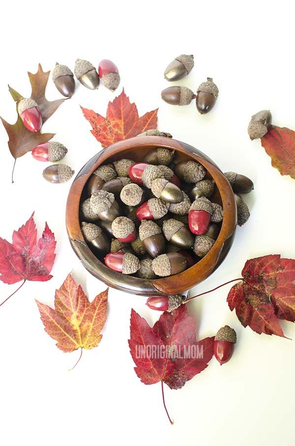 Painted Acorns - how to preserve and spray paint acorns for fall decorating  |  unOriginalMom.com