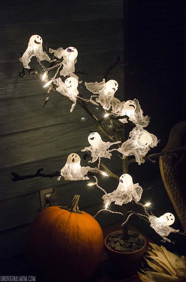 diy ping pong ball ghost lights with spooky halloween tree unoriginalmomcom - Halloween Ping Pong Balls