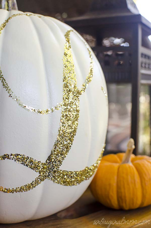 Glitter Monogrammed Pumpkin and a tutorial on using Silhouette double-sided adhesive | unOriginalMom.com