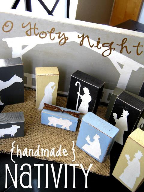Original Friday Feature - Handmade Block Nativity from Ginger Snap Crafts