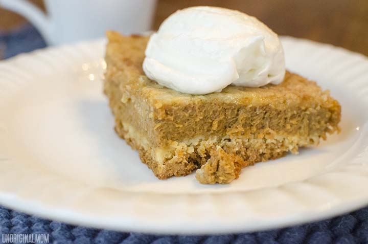 Pumpkin Pie Cake - easy and delicious layered dessert made with canned pumpkin and yellow cake mix.     unOriginalMom.com