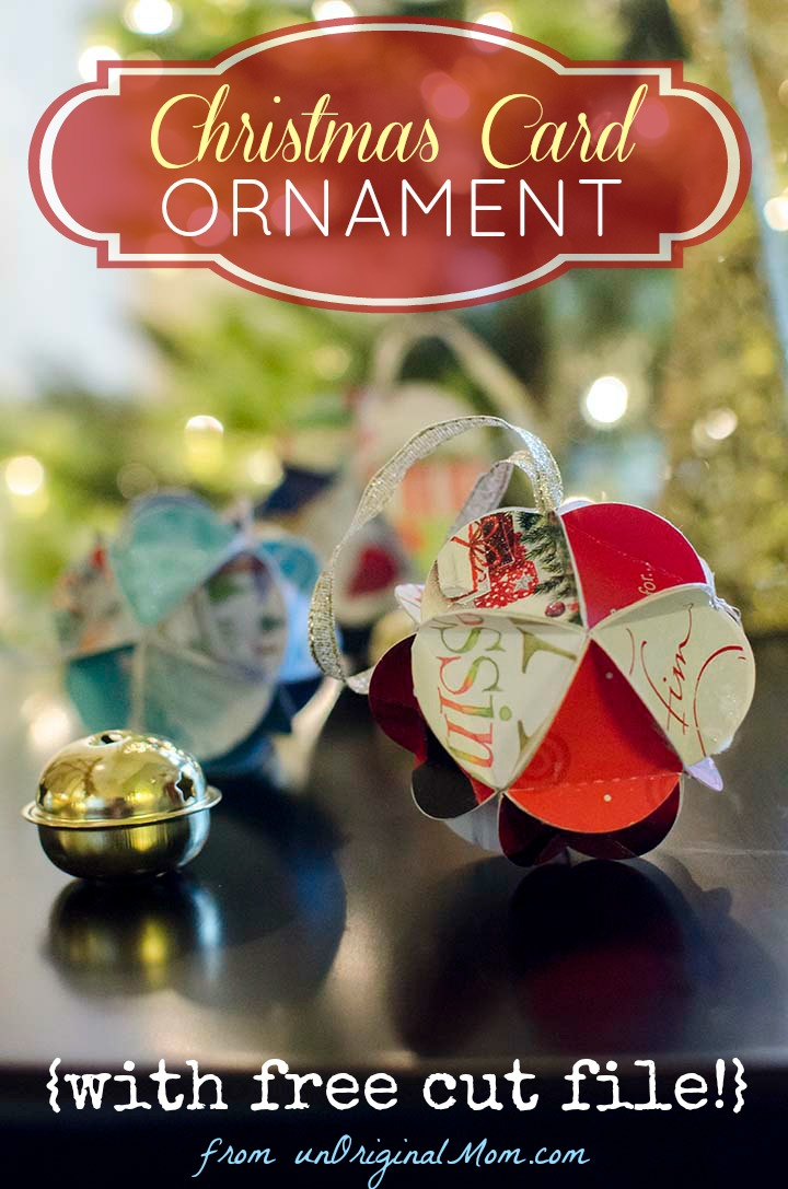 DIY Christmas Card Ornaments with Free Cut File - unOriginal Mom