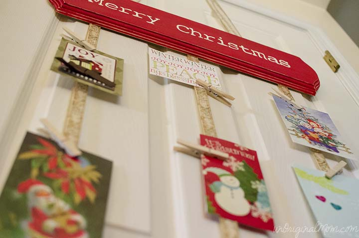 DIY Hanging Christmas Card Holder - great way to display lots of Christmas cards without taking up flat space!