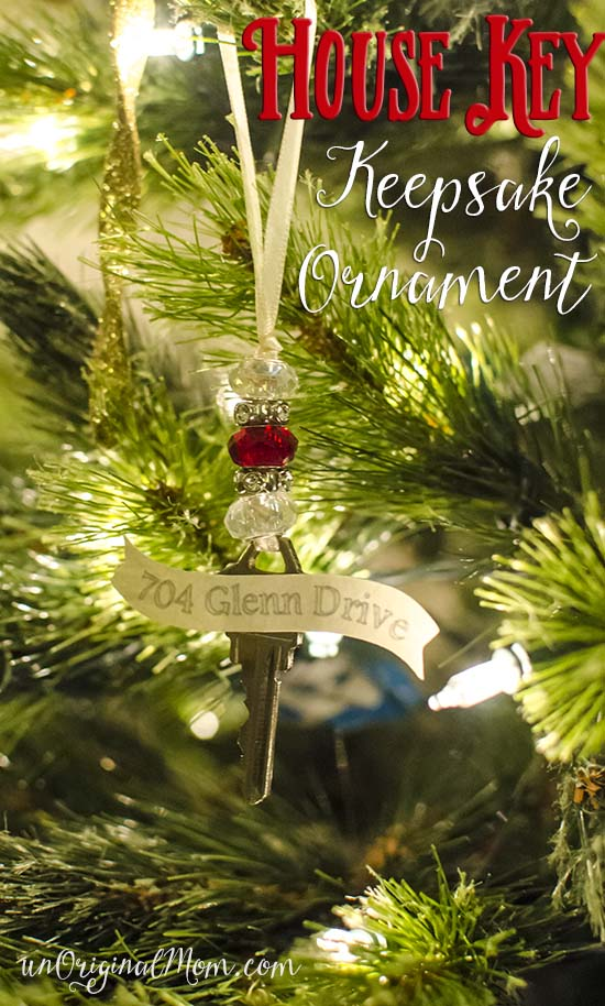 Great use for an old key from a former house - turn it into a keepsake ornament!