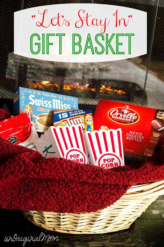 Let 39 s stay in gift basket with personalized popcorn tubs for Homemade christmas gift baskets for couples