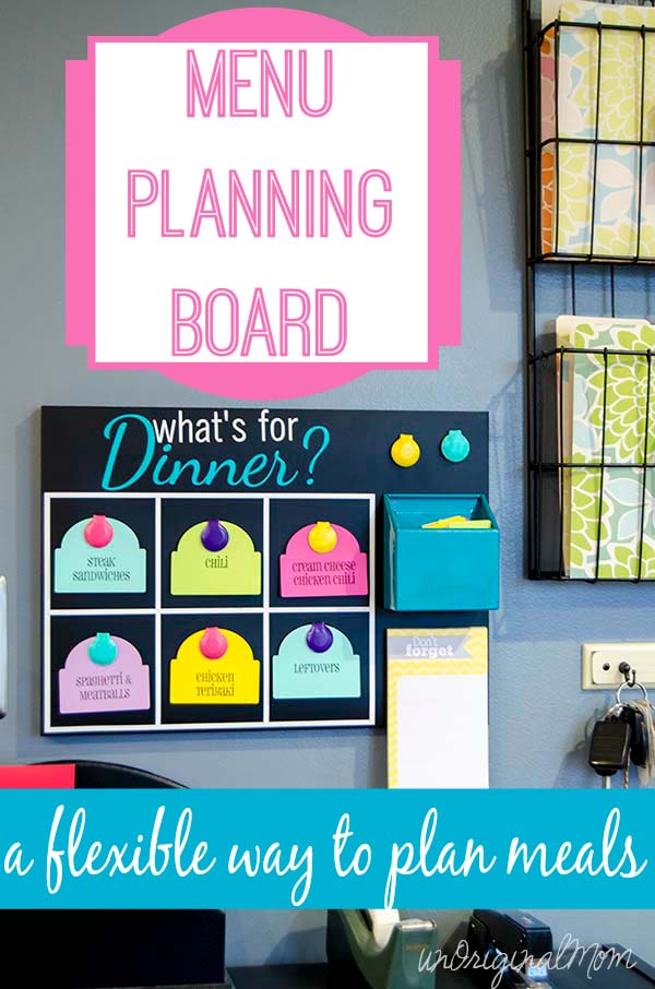 Menu Planning Board - pick from pre-printed meal tags and shop for 6 meals, but you don't have to schedule specific meals for each day!