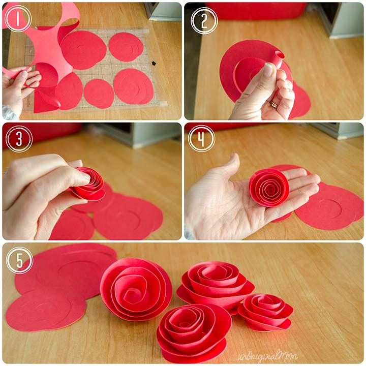 diy rolled paper roses valentines day card diy paper rosette wreath with free cut file 8057