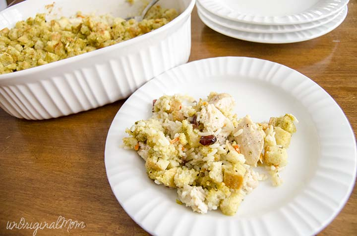 Everyday Thanksgiving Casserole - Knorr Creamy Chicken Rice Side + leftover turkey or chicken +stuffing mix = delicious and easy weeknight meal!