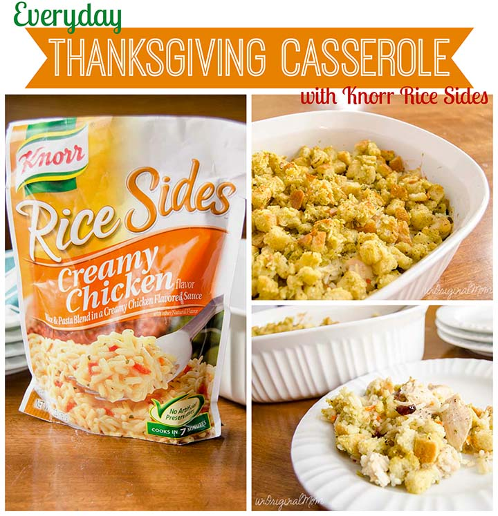 Everyday Thanksgiving Casserole - Knorr Creamy Chicken Rice Side + leftover turkey or chicken = delicious and easy weeknight meal!