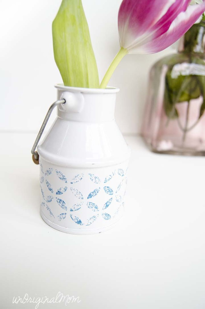Decorate a plain vase using Mod Podge Peel and Stick Stencils
