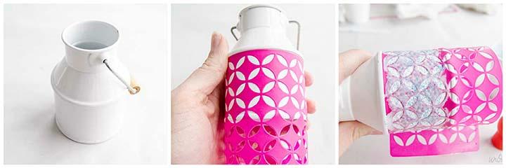 Decorate a plain vase using Mod Podge Peel and Stick Stencils