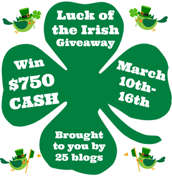 Luck of the Irish $750 PayPal Cash giveaway! March 10-16 on unOriginalMom.com