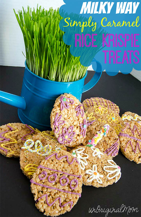 Milky Way Simply Caramel BITES Rice Krispie Treats - fun for an Easter treat! #EatMoreBites #CBias #Shop