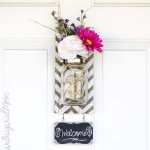 Chevron Pallet Mounted Hanging Mason Jar Vase