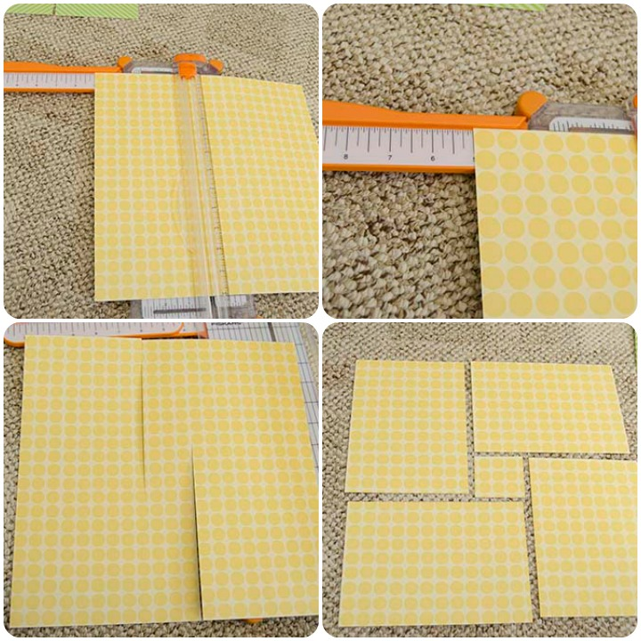 "How to cut a 12x12"" piece of scrapbook paper into four 5x7"" cards."