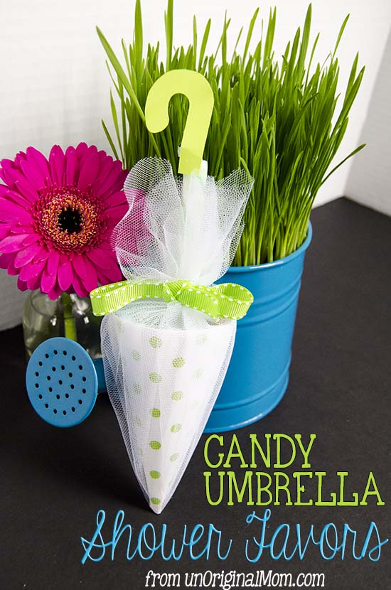 Candy umbrella baby shower favors unoriginal mom