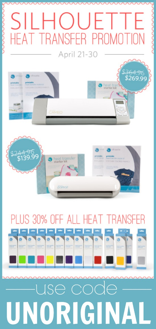 Heat Transfer Materials are 30% off through April 30 when you use the code UNORIGINAL!