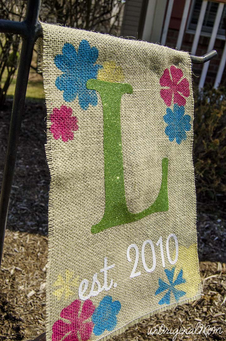 "A ""rustic glam"" burlap garden flag with glitter heat transfer vinyl!"