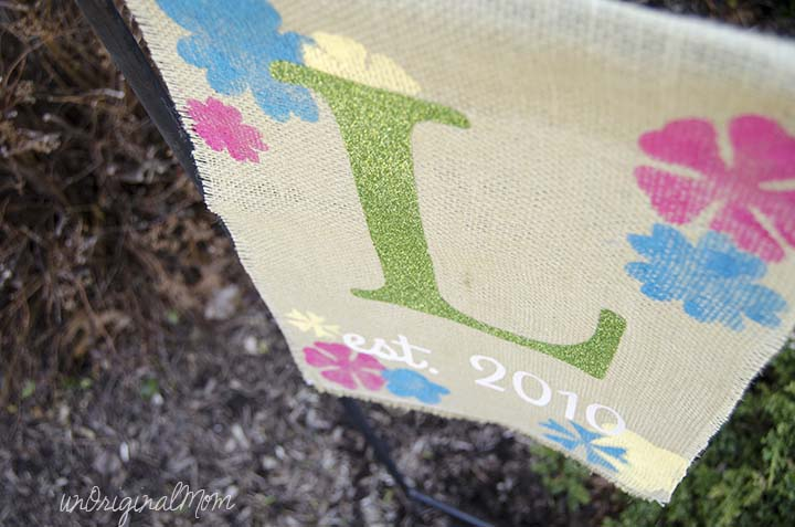 "A ""rustic glam"" burlap garden flag with glitter heat transfer vinyl!"