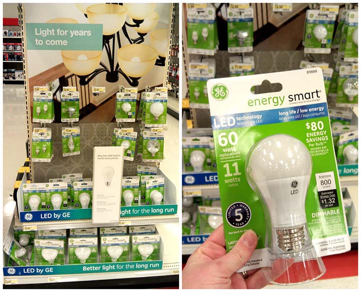 LED lights - last 15x longer than an incandescent bulb and use 80% less power!
