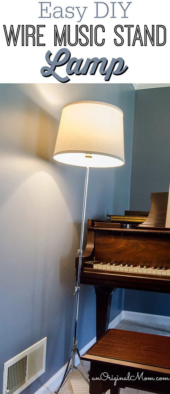 Make a lamp out of an old wire music stand - so easy! And perfect for a music room!