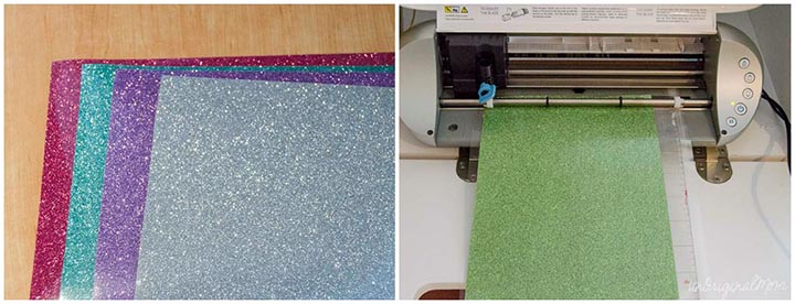 Glitter Heat Transfer Vinyl from Expressions Vinyl - it works on burlap!